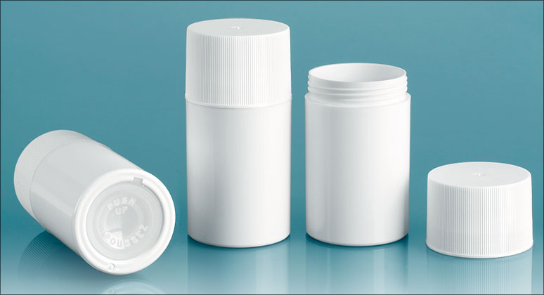 White Styrene Push Up Deodorant Containers w/ White Ribbed Screw Caps'