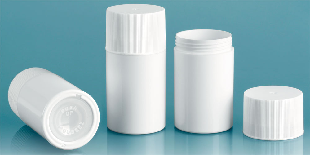 White Styrene Push Up Deodorant Containers w/ White Ribbed Screw Caps