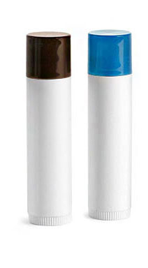 Lip Balm Tubes, White Lip Balm Tubes w/ Colored Caps