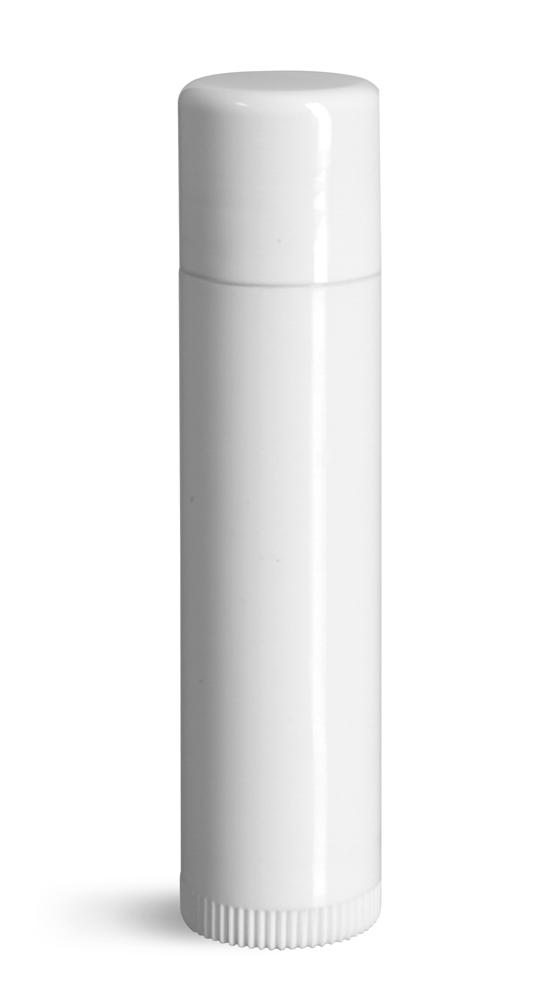 0.15 oz Lip Balm Tubes, White Plastic Lip Balm Tubes w/ Caps
