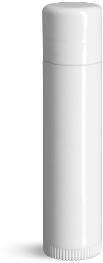 Lip Balm Tubes, White Plastic Lip Balm Tubes w/ Caps