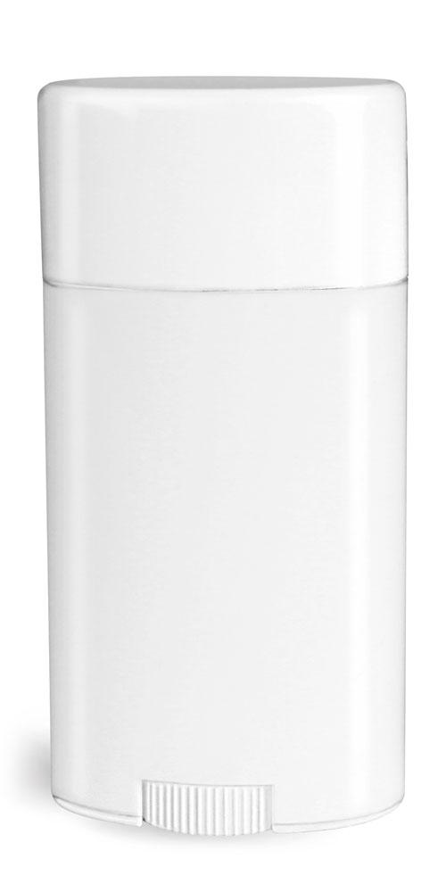 2.65 oz Plastic Tubes, White Polypropylene Deodorant Tubes w/ Flat White Caps