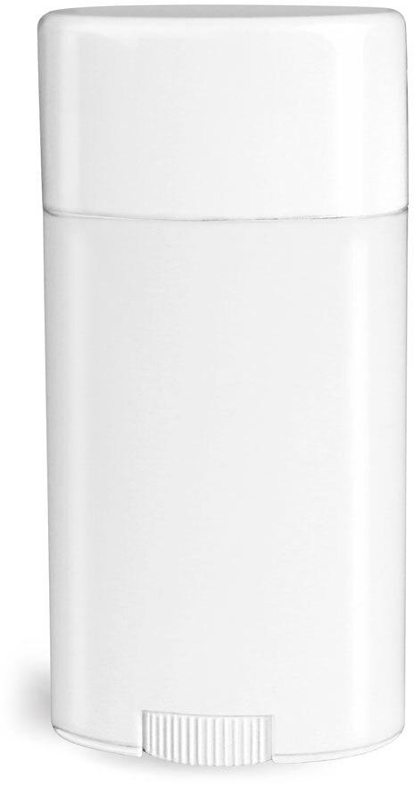 Plastic Tubes, White Polypropylene Deodorant Tubes w/ Flat White Caps
