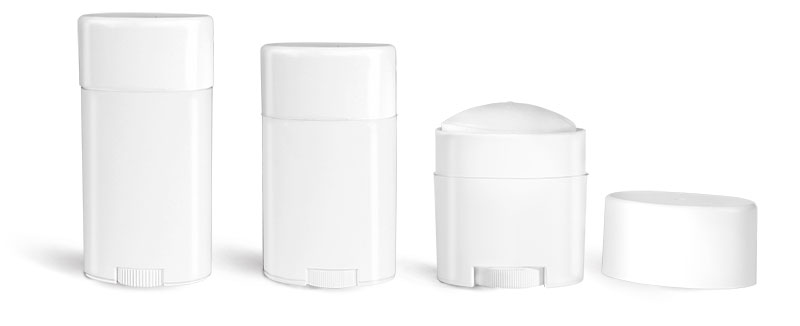Deodorant Containers, White Polypropylene Deodorant Tubes w/ Flat White Caps