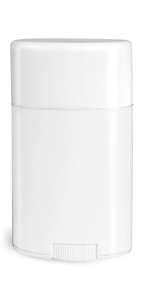 1.76 oz Plastic Tubes, White Polypropylene Deodorant Tubes w/ Flat White Caps
