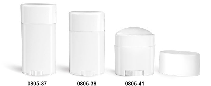 Deodorant Containers, White Polypropylene Deodorant Tubes w/ Flat White Caps