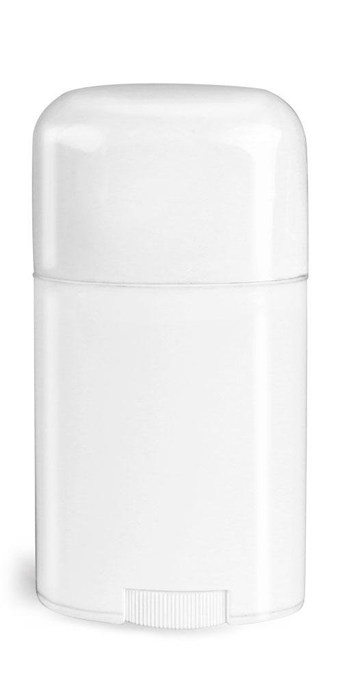 1.76 oz White Polypro Oval Deodorant Tubes w/ White Caps
