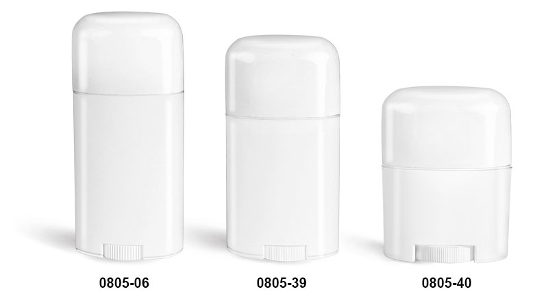 Deodorant Containers, White Oval Polypropylene Deodorant Tubes w/ White Caps