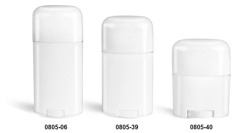 Deodorant Containers, White Oval Polypropylene Deodorant Tubes w/ White Caps
