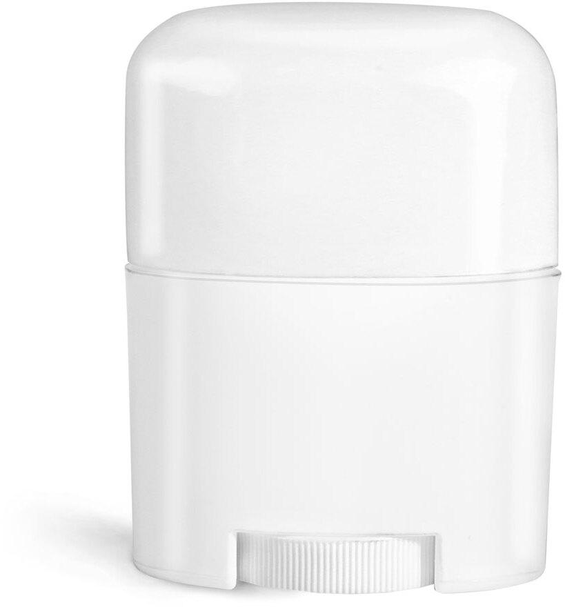 Plastic Tubes, White Polypro Deodorant Tubes w/ White Dome Caps