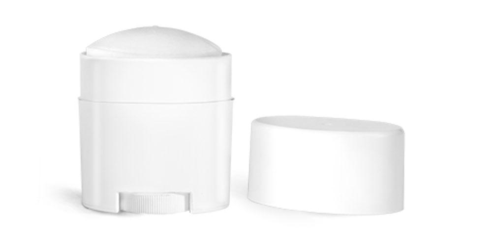 0.75 oz Plastic Tubes, White Polypro Deodorant Tubes w/ White Flat Caps