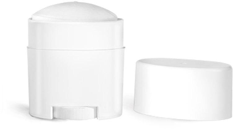 Plastic Tubes, White Polypro Deodorant Tubes w/ White Flat Caps