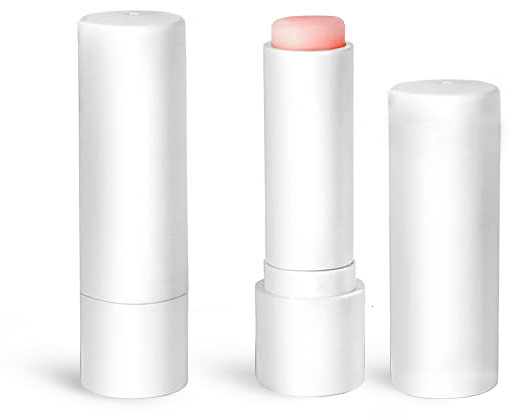 Lip Balm Tubes, 0.20 oz White Lip Balm Tubes w/ Caps