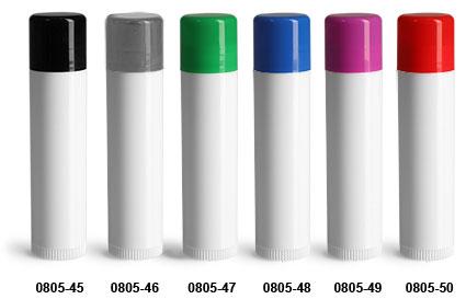Lip Balm Tubes, White Lip Balm Tubes w/ Colored Caps