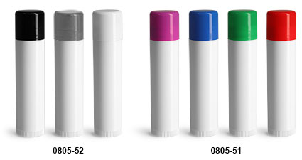 Lip Balm Tubes, White Lip Balm Tubes w/ Assorted Color Caps