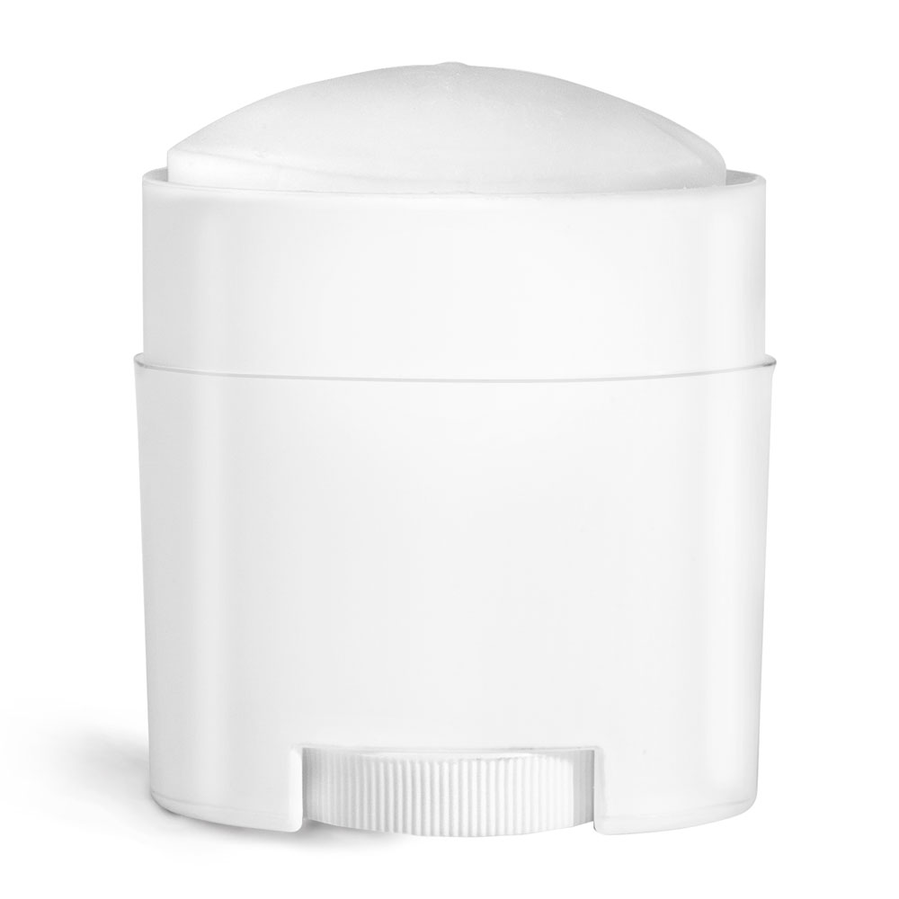 0.75 oz White Polypro Oval Deodorant Tubes (Bulk), Caps NOT Included
