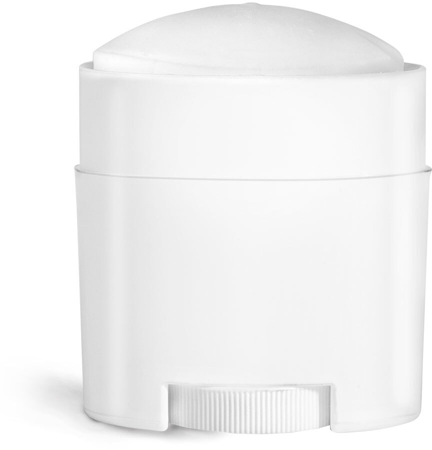 White Polypro Oval Deodorant Tubes (Bulk), Caps NOT Included