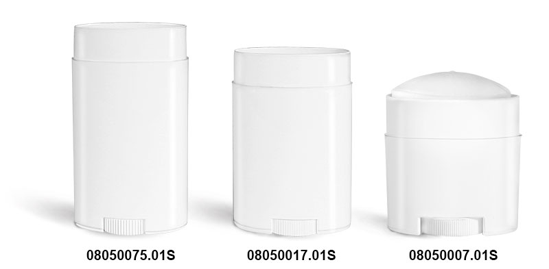 Plastic Tubes, White Polypro Oval Deodorant Tubes (Bulk), Caps NOT Included