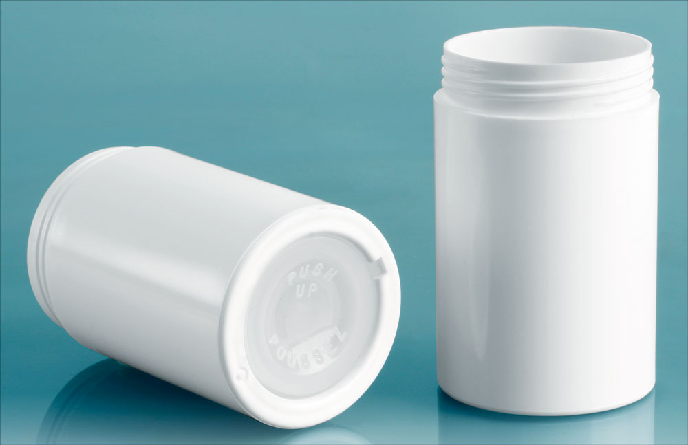 2.5 oz White Styene Push Up Deodorant Containers (Bulk), Caps Not Included