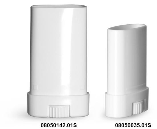 Plastic Tubes, White Polypropylene Oval Deodorant Tubes, (Bulk) Caps Not Included