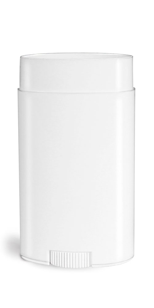2.65 oz White Polypro Oval Deodorant Tubes (Bulk), Caps NOT Included