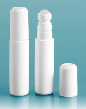 Plastic Lip Balm Tubes, White Mini Roll on Lip Balm Containers w/ Ball and Flat Top Caps