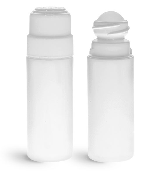 HDPE Plastic Bottles, White Roll-On Cylinder Bottles w/ Natural Ball & White Child Resistant Caps
