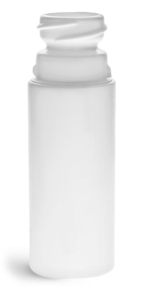 3 oz Plastic Bottles, White Child Resistant HDPE Roll-on Cylinder (Bulk), Caps NOT Included