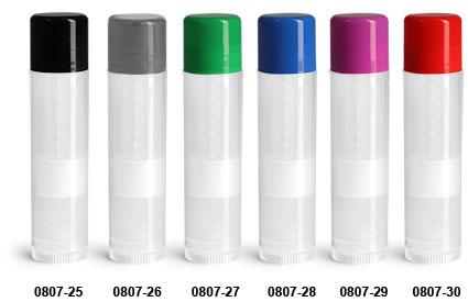 Lip Balm Tubes, Natural Lip Balm Tubes w/ Colored Caps