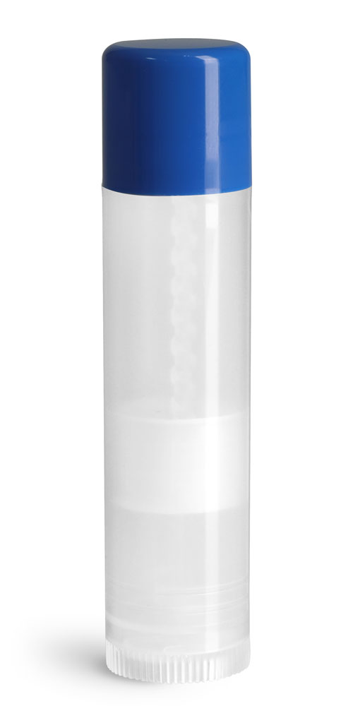 .15 oz Blue Cap Lip Balm Tubes, Natural Lip Balm Tubes w/ Colored Caps
