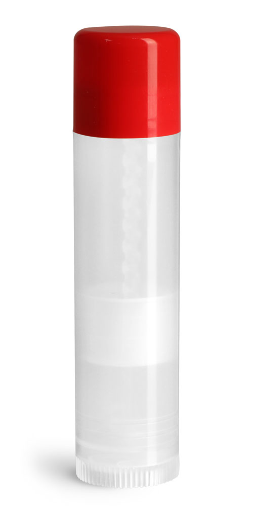 .15 oz Red Cap Lip Balm Tubes, Natural Lip Balm Tubes w/ Colored Caps