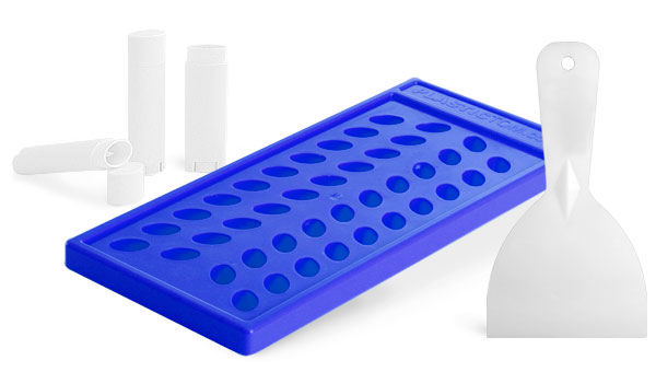 Lip Balm Filling Tray and Scraper For Oval Lip Balm Tubes