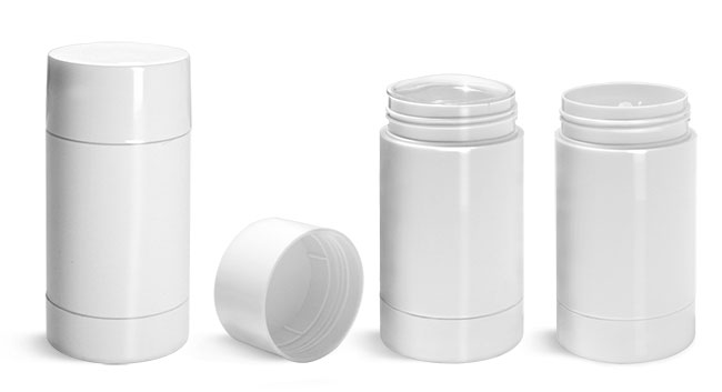 Deodorant Containers, White Styrene Twist Up Deodorant Tubes w/ White Screw Caps and Discs