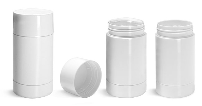 Plastic Tubes, White Styrene Twist Up Deodorant Tubes w/ White Screw Caps and Discs