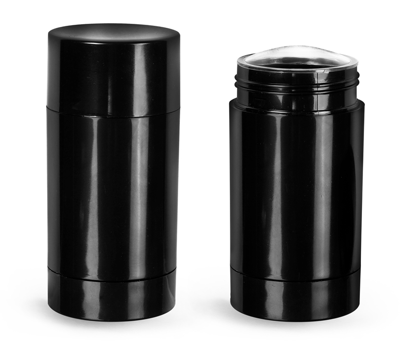 Black Styrene Twist Up Deodorant Tubes w/ Black Screw Caps and Discs