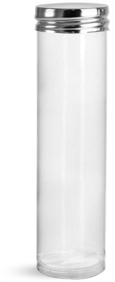 Clear PET Round Tubes w/ Silver Metal Screw Caps
