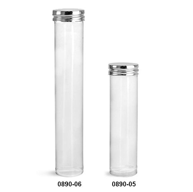 Plastic Tubes, Clear Propionate Round Tubes w/ Silver Metal Screw Caps