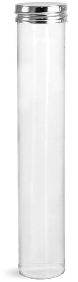 75 ml Clear PET Round Tubes w/ Silver Metal Screw Caps