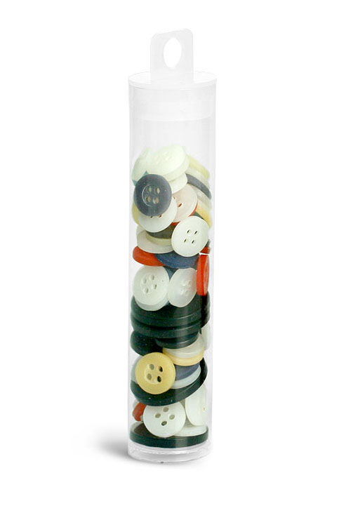 Plastic Tubes, Clear PET Round Tubes w/ Natural Hang LDPE Tab Plugs'