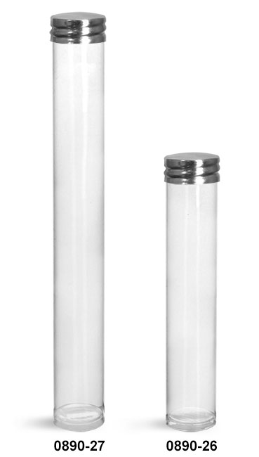 Plastic Tubes, Clear Plastic Round Tube w/ Silver Metal Screw Threaded Lined Cap