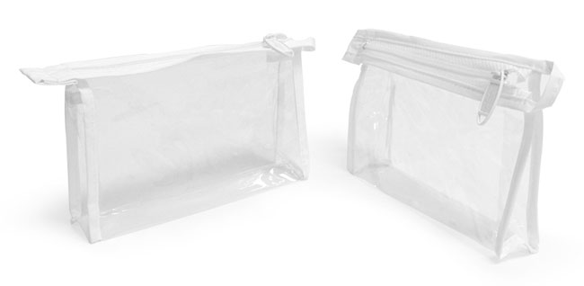 Vinyl Bags, Clear Vinyl Bags with White Zipper and Hang Loop, 152 mm, 38 mm, 102 mm