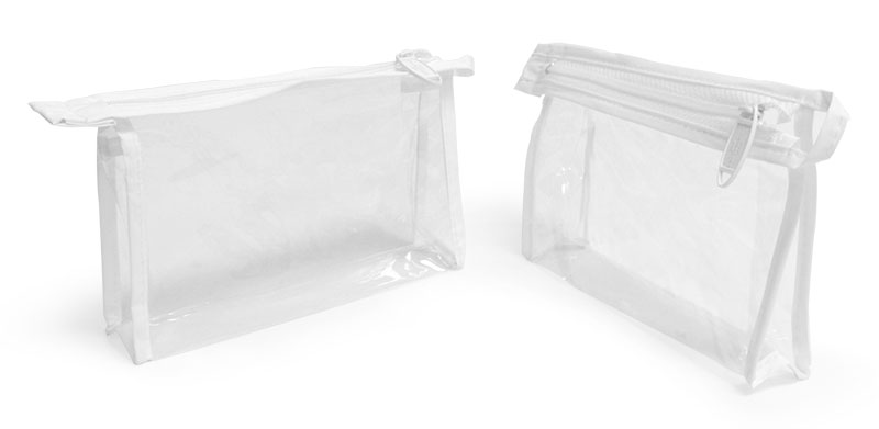 Vinyl Bags, Clear Vinyl Bags w/ White Zipper and Hang Loop