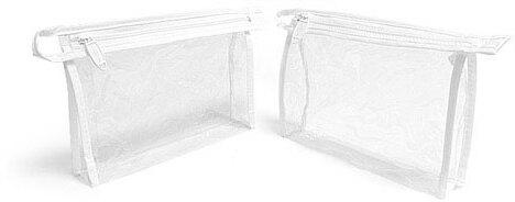 Clear Vinyl Bags w/ White Zipper And Hang Loop