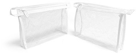 Vinyl Bags, Clear Vinyl Bags w/ White Zipper and Hang Loop, 178 mm x 38 mm x 127 mm