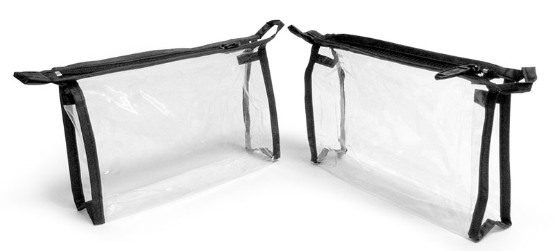 Vinyl Bags, Clear Vinyl Bags w/ Black Zipper and Hang Loop