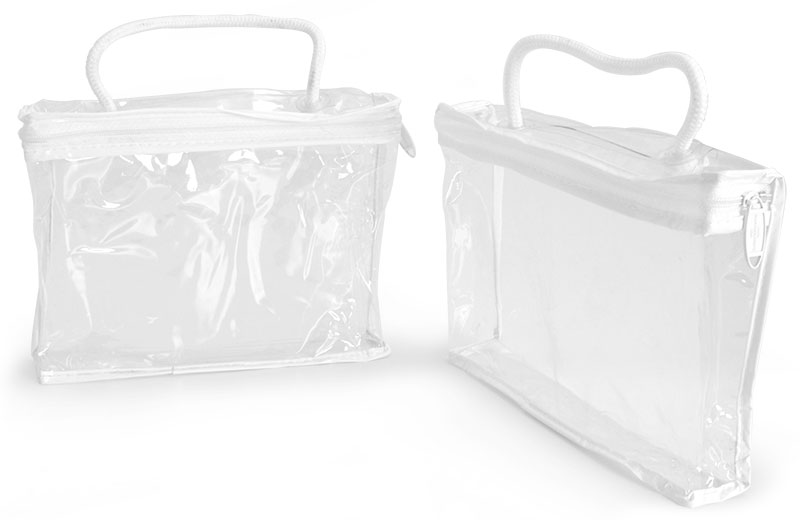 Clear Vinyl Bags w/ White Zipper and Rope Handle