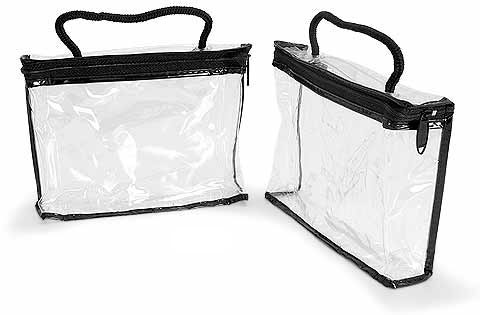 Vinyl Bags, Clear Vinyl Bags w/ Black Zipper and Rope Handle