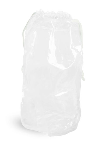 Vinyl Bags, Clear Vinyl Bags w/ White Drawstrings