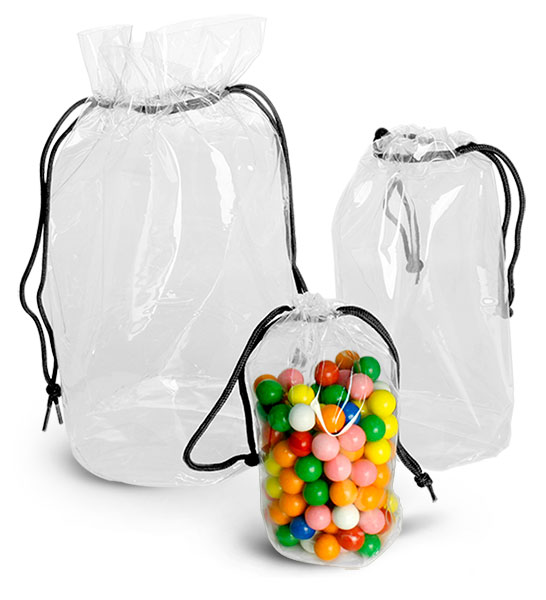 Vinyl Bags, Clear Vinyl Bags w/ Black Drawstrings