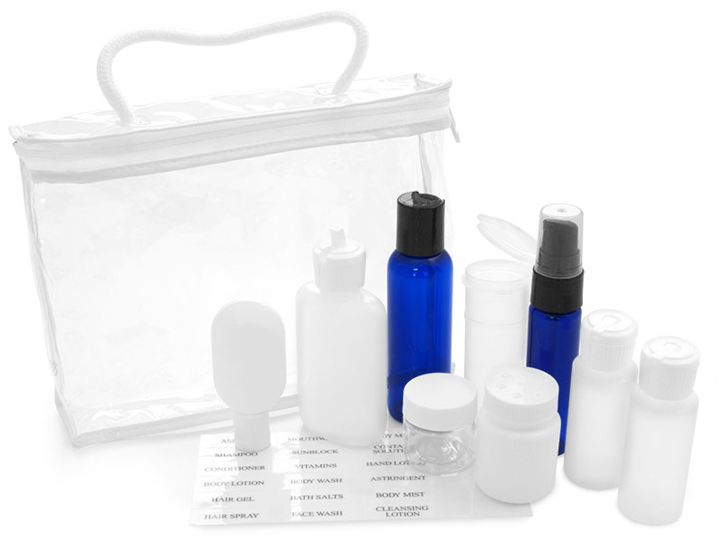 Travel Kits, Clear Vinyl Bags w/ White Trim and Travel Size Bottles